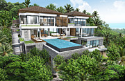 Desk Digital Art Originals - 3D rendering of tropical house exterior by Thanes