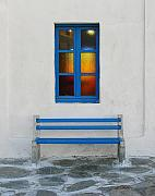 Benches Prints - A Blue Bench Print by Mel Steinhauer