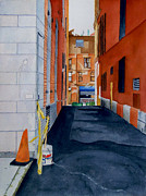 Boston Painting Originals - A Boston Alley by Jason M Silverman