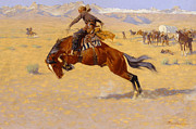 Perspective Painting Prints - A Cold Morning on the Range Print by Frederic Remington