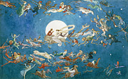 Dark Skies Painting Framed Prints - A Dance Around the Moon Framed Print by Charles Altamont Doyle