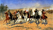 Wa Painting Framed Prints - A Dash for the Timber Framed Print by Frederic Remington
