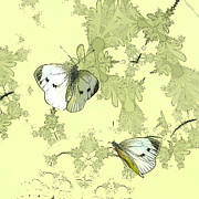 Butterflies Mixed Media - A Feuilles Vertes  by Sharon Lisa Clarke