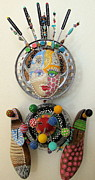 Colorful Art Sculpture Framed Prints - A FunDoo Pot Framed Print by Keri Joy Colestock