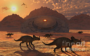 Ufology Prints - A Herd Of Dinosaurs Walk Past A Flying Print by Mark Stevenson