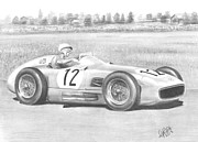 Stirling Moss Drawings - A Knight in silver armour by Chris Cox