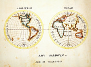 Vintage Map Paintings - A Map of the World  Amy Baldwin sc by MotionAge Art and Design - Ahmet Asar