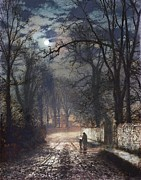 Silver Moonlight Painting Framed Prints - A Moonlit Lane Framed Print by John Atkinson Grimshaw