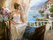 Verandah Paintings - A morning in Italy by Dmitri Kulikov