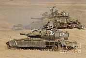 Battletank Posters - A Pair Of Israel Defense Force Merkava Poster by Ofer Zidon