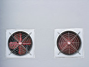 Electric Fan Posters - A pair of red industrial ventilated fan on grey wall as backgrou Poster by Ammar Mas-oo-di