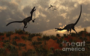 Digitally Generated Image Art - A Pair Of Velociraptors Involved by Mark Stevenson