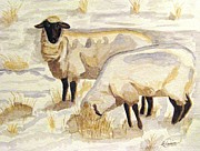 Ewes Art - A Peaceful Winter by Angela Davies