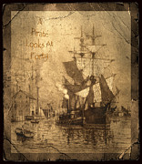 Historic Schooner Prints - A Pirate Looks At Forty Print by John Stephens