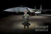 Full-length Portrait Metal Prints - A U.s. Air Force Pilot Stands In Front Metal Print by Terry Moore