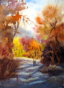 Women Together Painting Prints - A Walk In The Fall Print by Mohamed Hirji