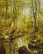 Warm Paintings - A Wooded River Landscape by Peder Monsted