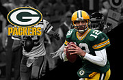 Green Bay Prints - Aaron Rodgers Packers Print by Joe Hamilton
