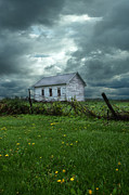 Clapboard House Photo Framed Prints - Abandoned Building in a Storm Framed Print by Jill Battaglia