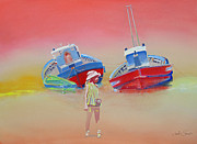 Toy Boat Painting Posters - Abandoned Fishing Boats Tavira Poster by Charles Stuart