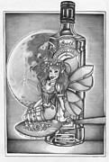 Faerie Drawings - Absinthe Faerie by Shari Mallinson