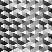 Relief Print Digital Art Posters - Abstract Monochrome Geometric Pattern Poster by Atthamee Ni