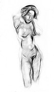 Abstract Drawing Drawings - Abstract Nude by Stefan Kuhn