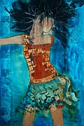 Dancing Girl Paintings - Abstract woman  by Andrada Anghel