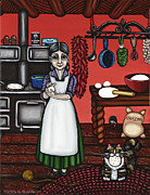 Mexican Artists Framed Prints - Abuelita or Grandma Framed Print by Victoria De Almeida