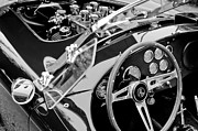 Classic Cobra Prints - AC Shelby Cobra Engine - Steering Wheel Print by Jill Reger
