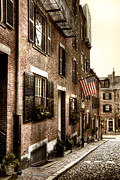Flag Stone Framed Prints - Acorn Street Framed Print by Joann Vitali