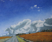 Gravel Road Paintings - Across A Golden Soya Field by Francois Fournier