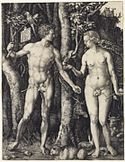 Black And White Nudes Prints - Adam and Eve Print by Albrecht Durer