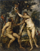 Adam And Eve Framed Prints - Adam and Eve Framed Print by Peter Paul Rubens