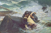 Sailboat Ocean Framed Prints - Adieu Framed Print by Alfred Guillou