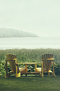Sandra Cunningham - Adirondack chairs on the grass by the lake