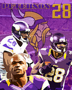 Pro Football Digital Art Prints - Adrian Peterson Print by Glenn Davis