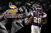Vikings Posters - Adrian Peterson Vikings Poster by Joe Hamilton