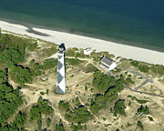 James Lewis Framed Prints - Aerial of Cape Lookout Lighthouse Framed Print by James Lewis