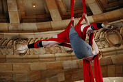 Ribbon Posters - Aerial Ribbon Performer at Pennsylvanian Grand Rotunda Poster by Amy Cicconi