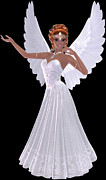 African-american Digital Art Prints - African American Angel Girl Print by Marcella