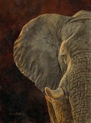 African Prints Paintings - African Elephant by David Stribbling