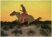 Frederic Remington Framed Prints - Against the Sunset Framed Print by Frederic Remington