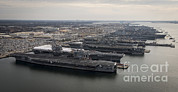 Enterprise Photo Framed Prints - Aircraft Carriers In Port At Naval Framed Print by Stocktrek Images