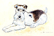 Featured Pastels Posters - Airedale terrier Poster by Kurt Tessmann