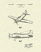 Single Drawings Posters - Airplane 1947 Patent Art Poster by Prior Art Design