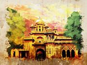 University Buildings Drawings Prints - Aitchison College Print by Catf