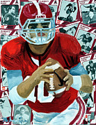 Football Mixed Media - Alabama Quarter Back #10 by Michael Lee