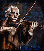 Violin Drawings Prints - Albert Einstein and Violin Print by Daliana Pacuraru