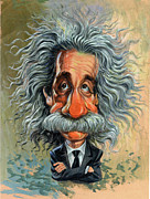 Caricatures Metal Prints - Albert Einstein Metal Print by Art